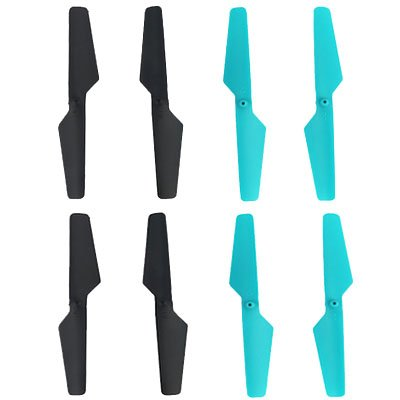 vientiane Drone Propellers, 8 Mini Plastic Parts Propellers Blades for Little Noise Quick Replacement Accessories for JY018 Quadcopter Drone Folding (4 Blue, 4 Black)