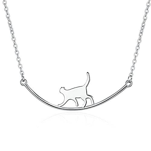 Nische Persönlichkeit Einfaches Temperament Glattes Geschwungenes Lächeln Katze Kletterstange Kurze Halskette Damen Schlüsselbein Kette Schmuck