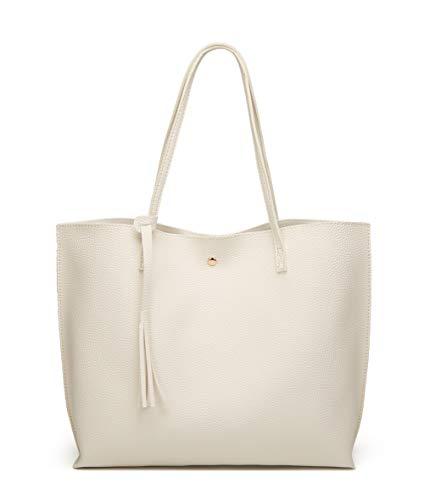 Women's Soft Faux Leather Tote Shoulder Bag from Dreubea, Big Capacity Tassel Handbag White