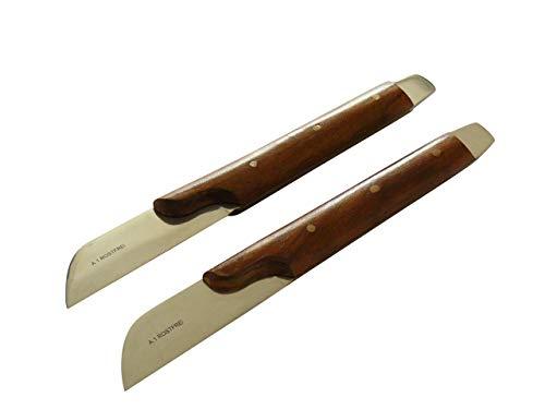 2x Gipsmesser mit Küvettenöffner, geschwungener Holzgriff, 18 cm - Gips Messer Kitt-Messer