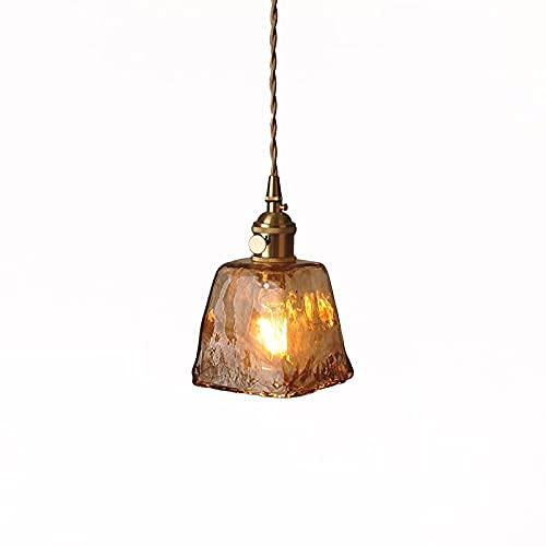 Vintage Amber Araña Ajustable Switch Ajustable Aldea Rural Techo Colgante Colgante Iluminación Espesado Linterna de cristal Hollow Base Accesorios de pared para el Cafe Booksore Biblioteca Estudio (Co