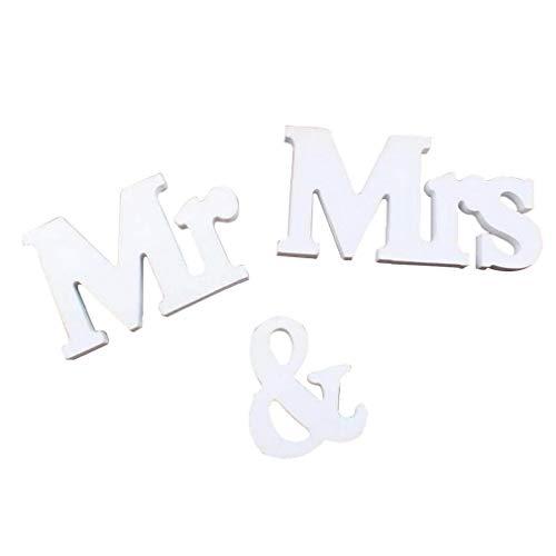 NaisiCore Dekorative Holzbuchstaben Mr & Mrs Vintage-Stil 3D-Holz-Alphabet für Hochzeitstag-Partei-Dekoration Weiß
