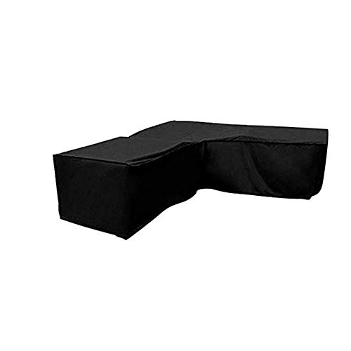 Hieefi Garden Furniture Cover, UV Resistant Outdoor Recliner Cover Durable Waterproof Patio V-Shaped Sectional Sun Lounge Set Cover, 215 * 215 * 82CM, Black
