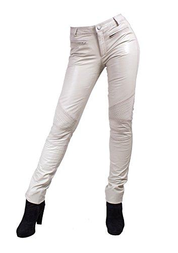 Unbekannt Yonna Damen Lederhose aus echtem Lamm Nappa Leder in diversen Farben (Weiß, 2XL)