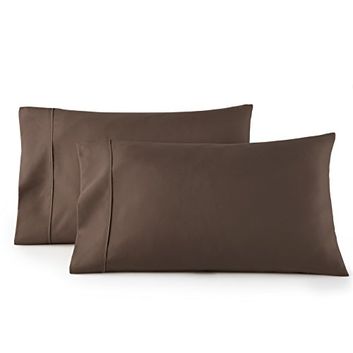 HC COLLECTION 1500 Thread Count Egyptian Quality 2pc Set of Pillow Cases, Silky Soft & Wrinkle Free (Fits Queen)- Standard Size/ Chocolate Brown