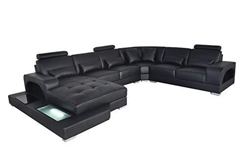 JVmoebel Diseño de piel tapizada para esquina de habitación, sofá esquinero, sofá esquinero, diseño de paisaje