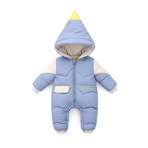 Bebé Invierno Mamelucos con Capucha Ropa Traje de Nieve Niñas Niños Abrigo Outfits Manga Larga Algodón Monos Peleles Calentar Regalos 0-6 Meses,Azul