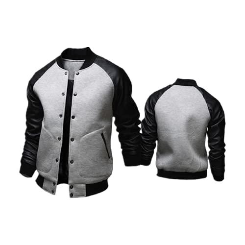 Otoño Invierno Caliente-venta de los hombres chaqueta de béisbol grandes bolsillos y cuero