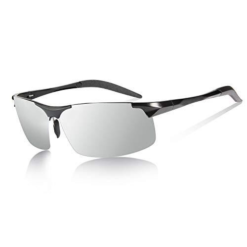 YIMI Herren Photochromatisch Sportbrille Polarisiert Rechteckig Sonnenbrille Al-Mg Metallrahmen Fahrer Anti Reflexbeschichtung 100% UVA UVB Schutz für Golf, Angeln, Autofahren, Outdoor-Aktivitäten