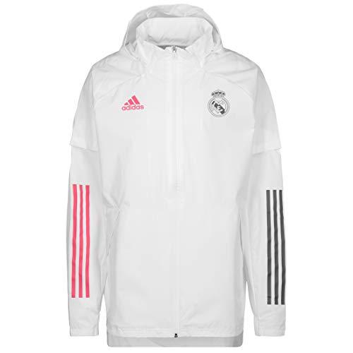 Adidas Real Madrid Temporada 2020/21 Chaqueta Cortavientos Oficial, Unisex, Blanco, 2XL