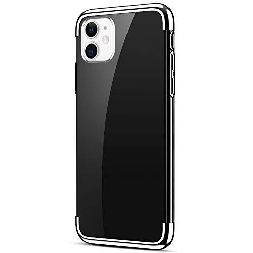 Uposao Kompatibel mit iPhone 11 Schutzhülle Transparent Weiche Silikon Handyhülle Überzug Farbig Rahmen Silikon Hülle Liquid Crystal Clear Durchsichtige TPU Bumper Case,Silber