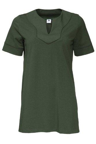 Nanso Tunika City Longshirt langes T-Shirt mit Schmuckkragen Gr. M L XL XXL (46-48 / XL, Weiss)