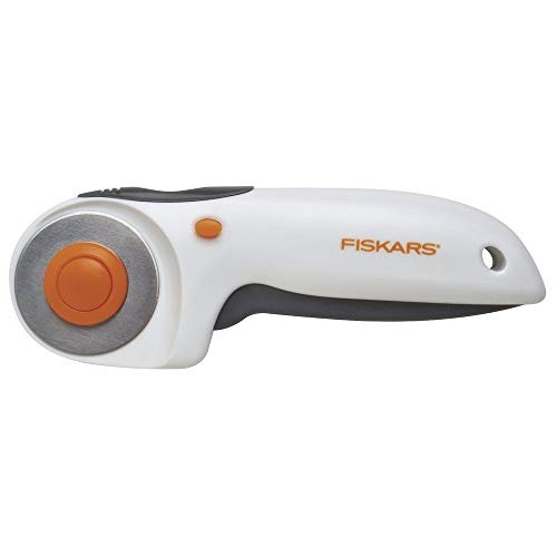 Fiskars Cúter Rotatorio, con Cuchilla Ø 45 mm, para diestros y zurdos, Naranja/Blanco/Gris, 1003910