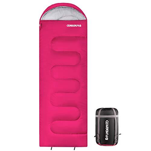 FUNDANGO Schlafsack für Erwachsene leicht gemütlich Umschläge kompakt wasserdichtes Design warme Jahreszeit Schlafsack für Camping Reisen Rucksackreisen Wandern Trekking 220x75cm_Pink