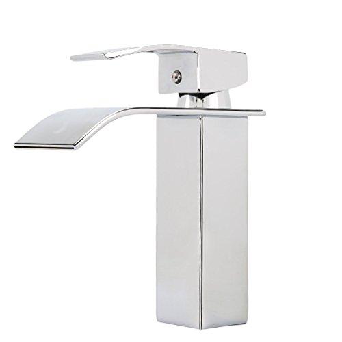 Grifo de cascada con núcleo de válvula de cerámica silencioso, grifo mezclador de latón cromado, para cuarto de baño, estilo moderno, agua fría y caliente disponible