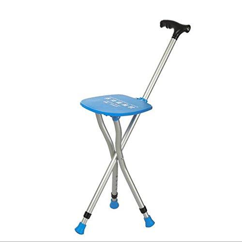 LL-Silla de caña para caminar-Las muletas telescópicas ancianas taburete trípode de ajuste multifuncional bastones