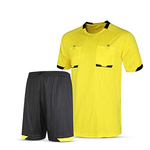 XIAOL Camisetas De Fútbol 2019 Hombres árbitro Uniforme Fútbol Corto Chándal De Fútbol Profesional Tailandia árbitro Juez Uniforme,Yellow-L