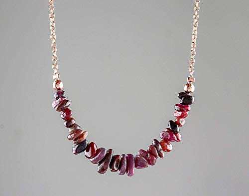 14k Rose Gold Plated 925 Sterling Silver Necklace Natural Ruby Gemstone Beads Handmade Gift for Women July Birthstone Jewelry Mothers Day Gift