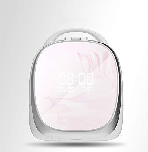 ZYJ USB Intelligente De Charge De La Boîte De Stockage Cosmétique, Boîte De Rangement De Bijoux Portable avec La Poussière D'éclairage À LED Miroir Grille De Soins De La Peau,Rose