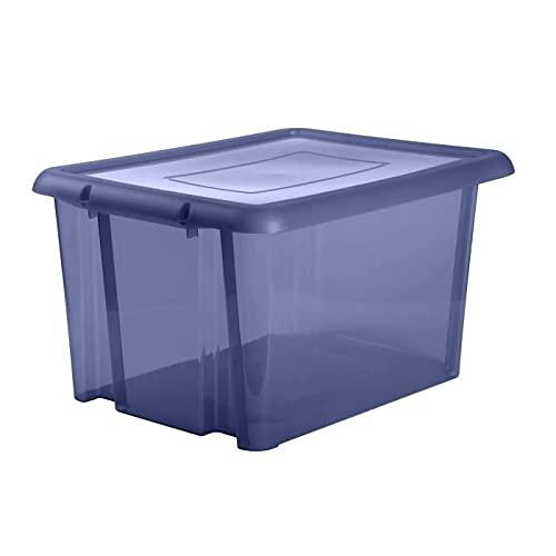 EDA PLASTIQUE Boîte de Rangement Funny Box 80 L - Bleu Profond acidulé - 64,7 x 49,5 x 36,2 cm