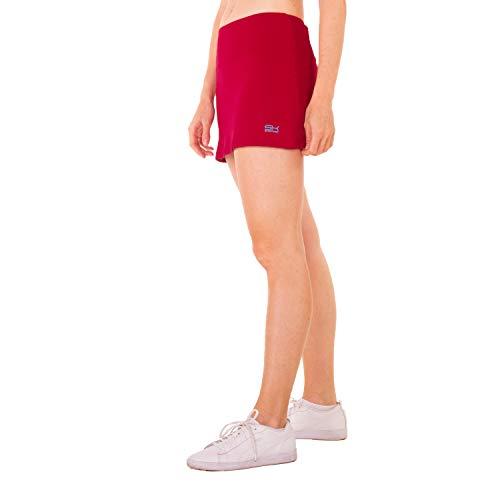 Sportkind Mädchen & Damen Tennis, Hockey, Golf Basic Skort, Rock mit Innenhose, atmungsaktiv, UV-Schutz, Bordeaux rot, Gr. 146