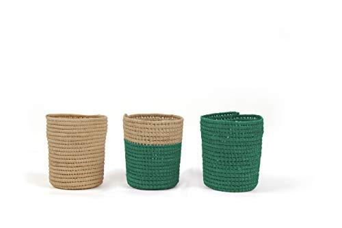 Clairefontaine 115537C - Un lot de 3 pots déco diamètre 7 cm x 9,5 cm de haut en raphia naturel, Vert canard assorti