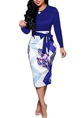 Church Dresses for Women - Cute Bowknot Floral Bodycon Pencil Dress