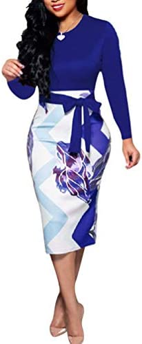 Church Dresses for Women Cute Bowknot Long Sleeve Floral Bodycon Dress Blue Large product image