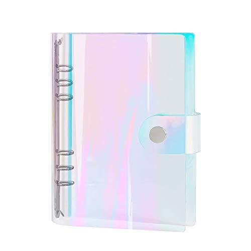 Zhi Jin A5 Custodia morbida per notebook in PVC arcobaleno Cartella con protezione per anelli rotondi con chiusura a bottone automatico