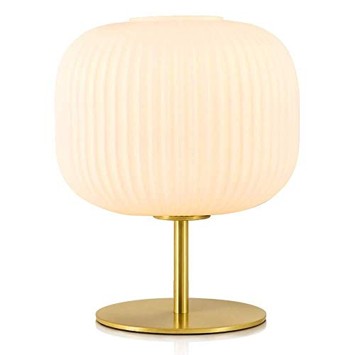 Preisvergleich Produktbild ZAQXSW Öl Reiben Messing Nachttischlampe runder Glaslampenschirm E27 Laterne Schlafzimmer Hauptdekoration Schreibtisch Lese Arbeit Nachttischlampe (Size : Push Button Switch)