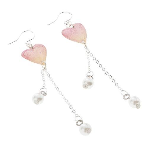 Amuzocity Pendientes para Mujer Flor Secada con Corazón (fundición de Resina) Gancho para La Oreja Perla Pendiente - rojo, tal como se describe