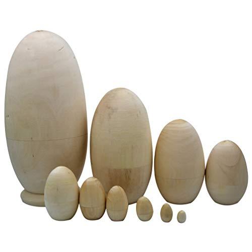 ULTNICE 10 Stück Hölzerne Matroschka-Nistpuppe DIY Unbemalte Nist-Eier Handzeichnung Matroschka-Pflockpuppen