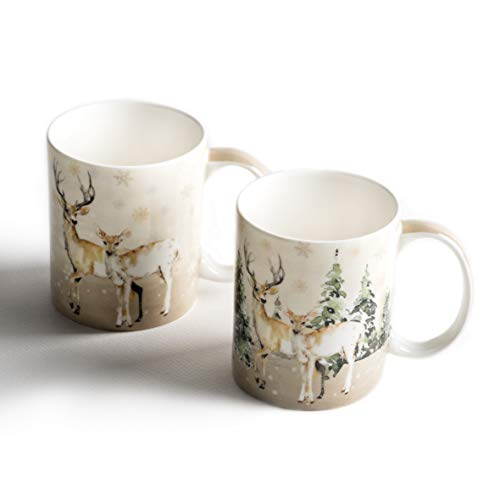 Maison d' Hermine Deer In The Woods Fine Bone China Coffee Mug with Handles for Hot Beverages - Coffee | Cappuccino | Latte| Cocoa | Tea Perfect for Home | Gifts (Pack of Two, 12 Ounce)