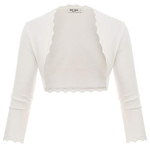 GRACE KARIN High Stretchy Scalloped Open Front Knit Shrug White Size S CL960-2