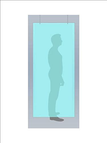 Mampara protección de cristal transparente colgante para mostrador pantalla comercio farmacias tiendas (60 x 80 cm)