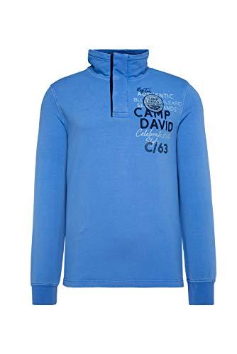 Camp David Herren Sweatshirt mit Troyer-Kragen und Artworks