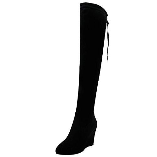 CularAcci Damen Gemutlich Hohe Ferse Over-Knee Stiefel Rei?Verschluss Keilabsatz Party Soft Stiefel Winter Schuhe Black Size 44 Asian