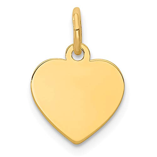 14k Yellow Gold .011 Gauge Engravable Heart Disc Pendant Charm Necklace Simple Shaped Plain Fine Jewelry For Women Gifts For Her