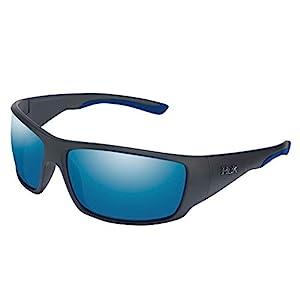 HUK Men's Polarized Oval Sunglasses, (Spearpoint) Blue Mirror/Matte Black