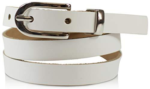 fashionchimp ® Basic Damengürtel aus 100% echtem Leder, schmaler Gürtel, Breite ca. 1,5cm, Made In Germany (Weiß, 130/BW115)