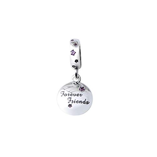 FeatherWish Family And Friends Round Disc Dangle Charms Engraved With 925 Sterling Silver And Cubic Zirconia Cubic Zirconia Compatible With Pandora Bracelet (Forever Friends)