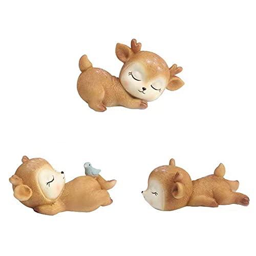 3 Pcs Baby Deer Figurines Cake Topper Desktop Decoration Party...
