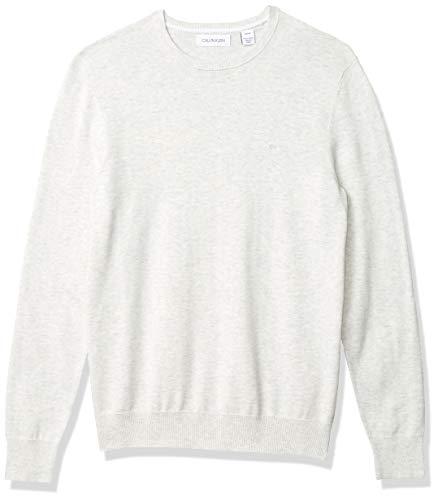 Calvin Klein Men's Soft Liquid Touch Crewneck Sweater, Pale Grey Heather, Medium