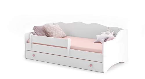 MEBLEKO Cama infantil EMMA 80x160 + marco + colchón + cajón, blanco