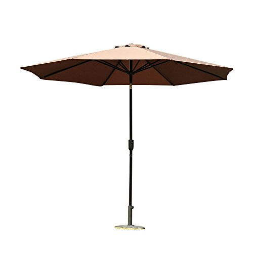 Outsunny Parasol en Aluminium Rond Polyester 180g/m2 manivelle inclinable...