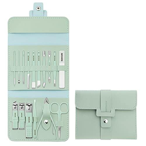 Juego de arte de uñas de 16 piezas, juego de cortaúñas, kit de higiene de viaje, dispositivo de cuidado de cuchillos profesional de acero inoxidable, kit de cuidado de uñas profesional (verde)