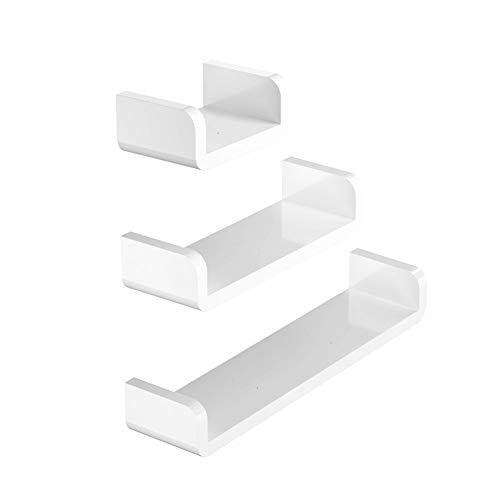 POHOVE 3 unids/set estantes flotantes para pared, estante U baño estante organizador para hogar/decoración de pared/cocina/baño almacenamiento (S+M+L).