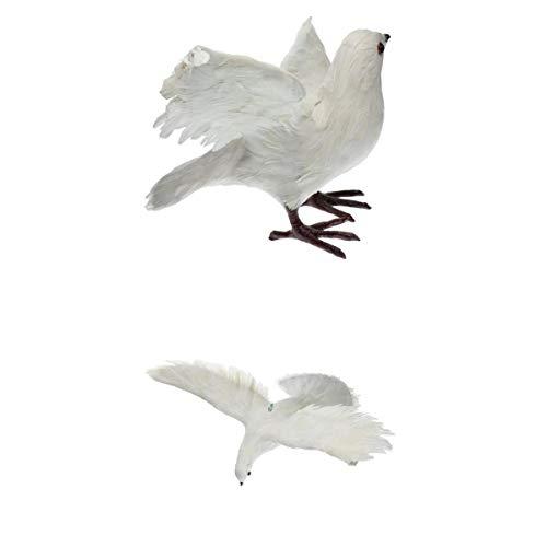 MagiDeal 2pcs Pájaros Artificiales de La Decoración de La Estatuilla del Patio del Pájaro de La Paloma Emplumada