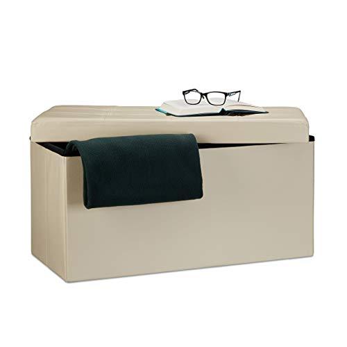 Relaxdays Faltbare Sitzbank 38 x 78 x 38 cm HxBxT, 2-Sitzer m. Stauraum, Kunstleder Sitzhocker 300 kg belastbar, Creme Banco Asiento Plegable, Piel Sintética, 76x38x38 cm