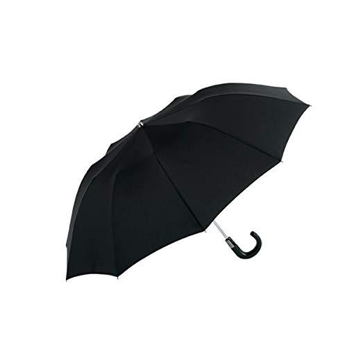 EZPELETA Paraguas Plegable de Hombre. Automático y con puño Curvo. Tejido Liso Negro - Negro